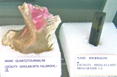 FIGURE 6.7. Pink and black tourmaline from the Himalaya Mine, Mesa Grande, and pink tourmaline in quartz, from Gavilan Mountain, on display at the Fallbrook Historical Society museum. Photographed with permission by P. R. Pryde.